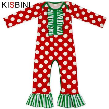 KISBINI Baby Romper Infant Clothing Newborn Baby Clothes Romper Girls Reindeer printed long ruff Christmas Halloween Dot Pumpkin