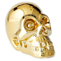 Ceramic Skull Money Bank, Gold, Large, Jars, Canisters, Tins & Bottles