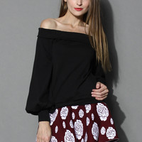 Slouchy Off-Shoulder Top in Black Black