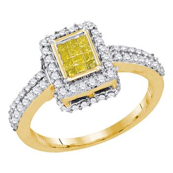 10KT Ladies Yellow Gold Canary Yellow Diamond Invisible Set Bridal Ring 0.88CTW