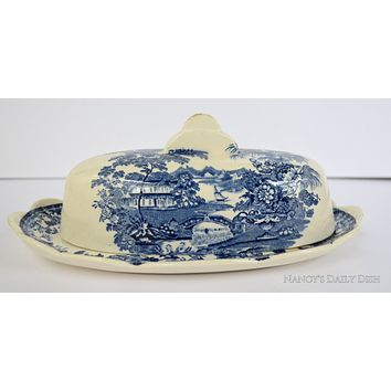 Clarice Cliff signed Covered Butter Dish Swans Roses Vintage Blue Transferware Tonquin