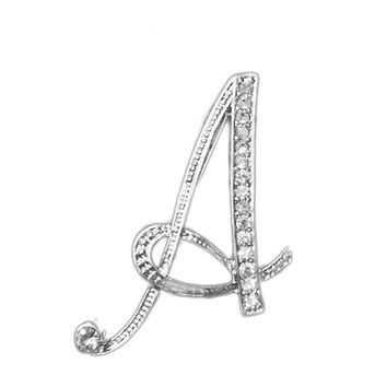 1 PC A To Z 26 Letters Design Brooches Pins English Letter Personality Brooches with Crystal