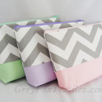 Design your own, Gray chevron cosmetic case, clutch, gadget bag, makeup or accessory tote