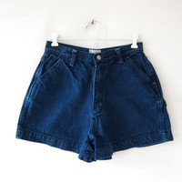 Vintage denim shorts. Dark wash jean shorts. High waist shorts.