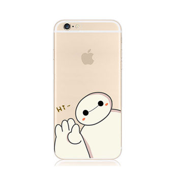 Baymax Big Hero 6 Six Hi Cutie iPhone 6s 6 Plus 5s 5 Case Transparent Clear Soft Silicone Rubber Printed Cover Case Free Worldwide Shipping