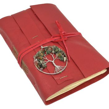 Leather Journal with Tea Stained Paper, Tree of Life, Red Diary, Journal, Travel Journal, Handmade Journal, Graduation, Mother's Day