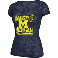 adidas Michigan Wolverines See Me Now Burnout Tee - Women's, Size: