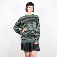 Vintage 90s Sweater grunge Sweater Camo Sweater Pullover Jumper 1990s Blue Green Gray Black Coogi Style Sweater Camouflage M Medium L Large
