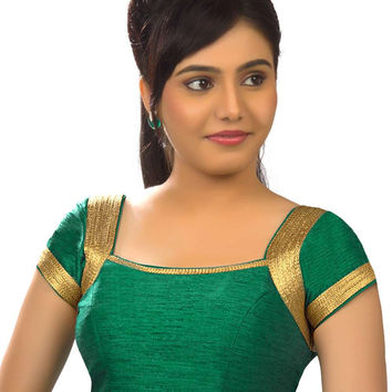 Gorgeous Rama Green Silk Party-Wear Sari Blouse SNT-X-257-SL