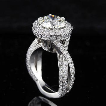 Diamond Platinum Vintage Style Micro Pave Engagement Ring Mounting