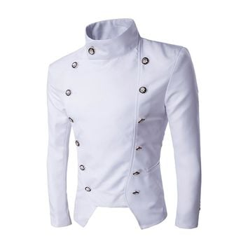 NEW Suits&Blazer Outwear Stand Neck Business Double Breasted Button Suit Jacket Blazers Coats Suit Jackets Slim Fit  PX311