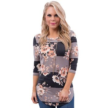 Charcoal Taupe Bold Stripe Light Floral Women T-Shirt