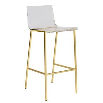 Chloe Bar Stool in Clear Acrylic with Matte Brushed Gold Legs - Set of 2
