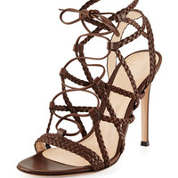 Gianvito Rossi Braided Leather Lace-Up Sandal, Medium Brown