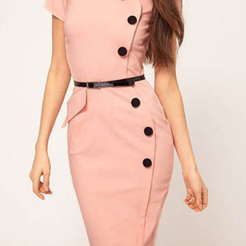 Solid Color with Button Detail Midi Dress
