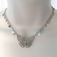 Sliver   Butterfly Necklace/Free shipping