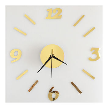 Digit Mirror Wall Clock Casual Decoration   golden