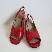 70s Red Open Toe Celebrity Sandals Vintage Patent Look 1970s Leather High Heel Shoes Womens Footwear 7.5B