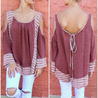 Sweet Disposition Rust Border Striped Cold Shoulder Sweater Top