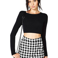 Check Skort With Fold Front