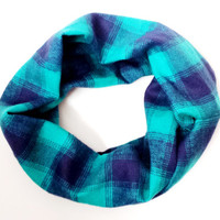 Teal & Navy Plaid Toddler Scarf Young Girls Plaid Infinity Scarves for Babies Kids Plaid Flannel Scarves Childrens Scarves Plaid Baby Scarf