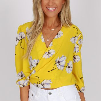 Tie Back Floral Top Yellow