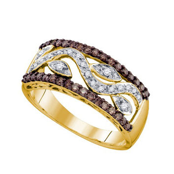 Cognac Diamond Ladies Fashion Band in 10k Gold 0.48 ctw