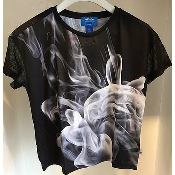 "Women Fashion ""Adidas"" Smoke Print T-Shirt Top Tee"