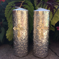 10 pcs candle wrapped in repujado with metallic cross