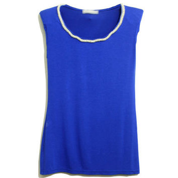 Beaded Collar Blue T-shirt [NCTM0439] - $39.99 :