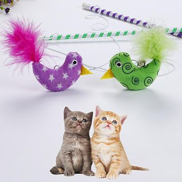 Interactive Pet Cat Teaser Toy Cute Bird Feature Bright Color Wand Stick Rod