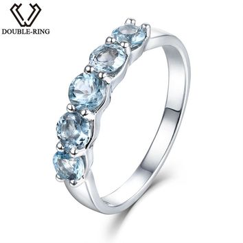DOUBLE-R 1.16ct Natural Stone Blue Topaz Engagement Ring Women 925 Sterling Silver Gemstone Rings Fine Jewelry Female Gift