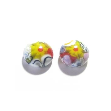 Murano Millefiori Colorful Yellow Daisy Post Earrings, Stud Earrings