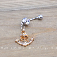 Anchor Belly Button Rings,Navel Jewlery,gold bling anchor belly button ring, navy ring,summer jewelry