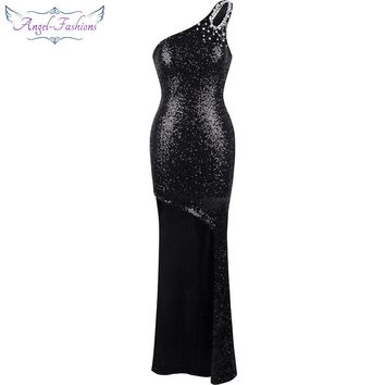 Angel-fashions One shoulder Sleeveless  Hollow Out Sequins Beading  High Low Dress 301