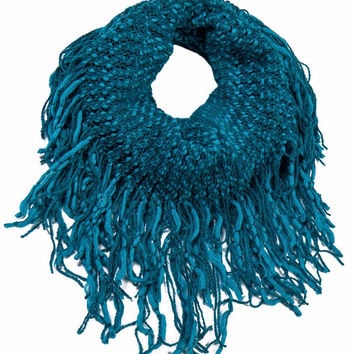 Neckerchief Winter Warm Yarn Knit Snood Loop Infinity Loop Cozy Scarf with Tassel