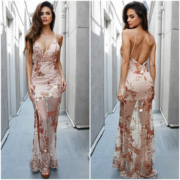 ♡ Gold Sequined Maxi Dress Elegant Spaghetti Strap Embroidery See Through Long Maxi Dress ♡