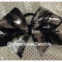 Black and Grey Metallic Cheer Bow
