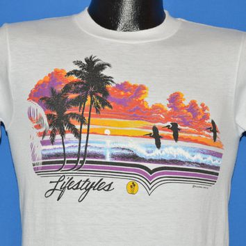 80s Sunset California Palm Tree Beach t-shirt Small