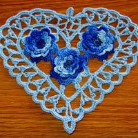 Baby Blue Heart with 3D Blue Roses, Irish Crochet Heart, Heart Doily, Heart Pendant, Crochet Heart Applique, Fiber Art Heart - Handmade