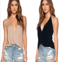 Loose  Cotton v neck Cami  B0014936