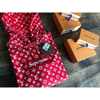 Supreme x Louis Vuitton LV Classic Popular Hooded Red Box Logo Embroidery Sweater Sweatshirt Top I/A