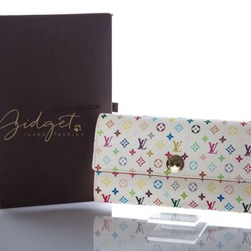 One-nice™ Louis Vuitton LV Monogram Murakami White Pink Portfolio Sarah Wallet