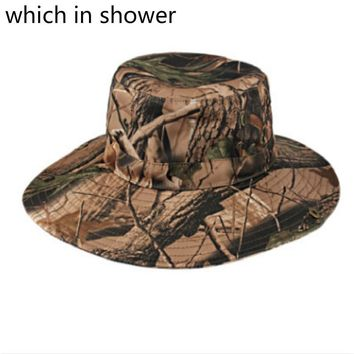 Which in shower Round Wide Brim Camo Summer Fishing Hat UV Protection Hiking Camouflage Bucket Hat Panama Sun Cap For Women Men