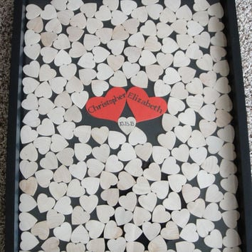 Wedding guest book and Unique Heart Guestbook (Drop Top Guestbook) - Any Color - 16x20 - Including Shadow Box