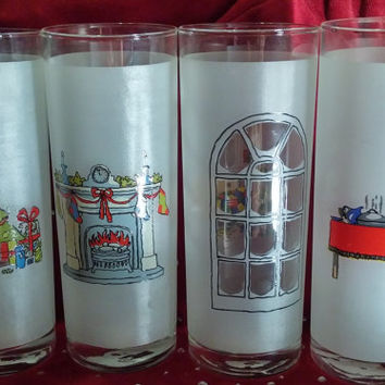 Four Vintage Frosted Glass Christmas Tumblers Made in Portugal