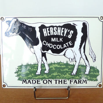Ande Rooney Porcelain Hershey's Chocolate Milk vintage advertising sign