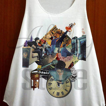 Oasis Shirt Noel Gallagher Rock Music Tank Top Sleeveless Vest Off White Shirt Singlet Tunics Women Tops T Shirt By FAAD Artwork - Size S M