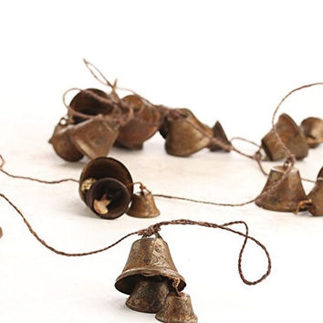 Primitive Rusted Assorted Size Tin Liberty Bells on Brown String Garland