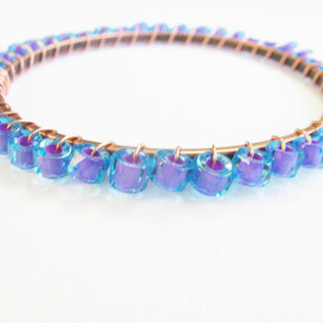 Radiant orchid and Dazzling Blue wire wrapped beaded copper bangle, Pantone 2014, neon bangle, colorful bracelet, stacked bangles, stackable